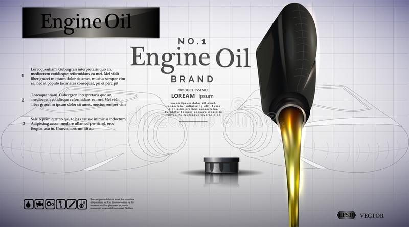 Bottle of engine oil. Oil flows stock illustration
