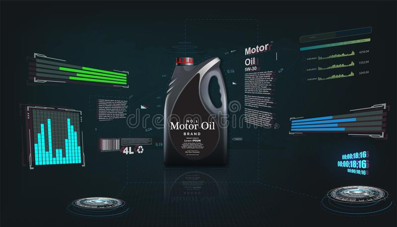 Bottle of engine oil on a futuristic background. vector illustration