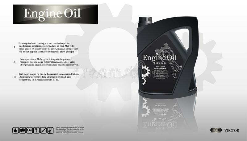Bottle engine oil on white background with gear, clean vector. Realistic 3D vector image. canister vector illustration