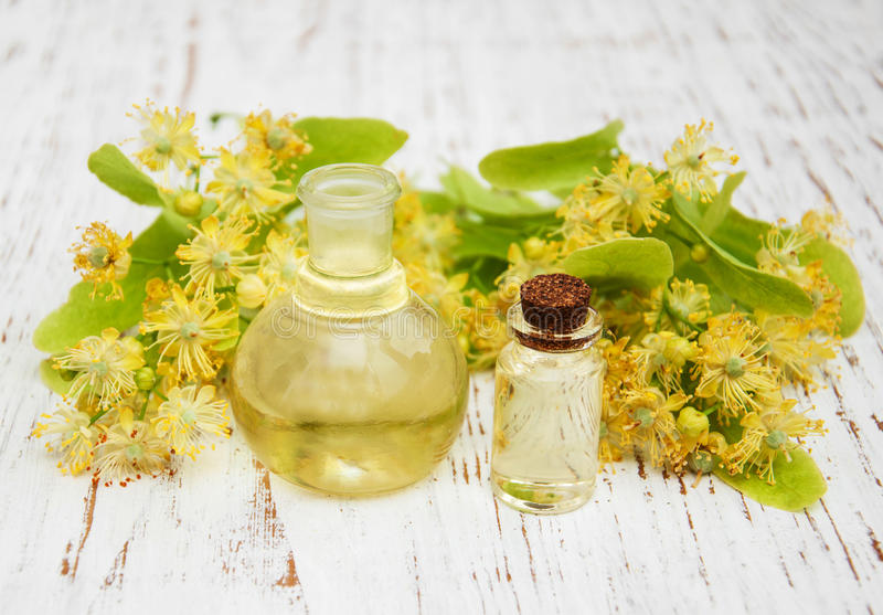 Bottle of essential linden oil stock photo