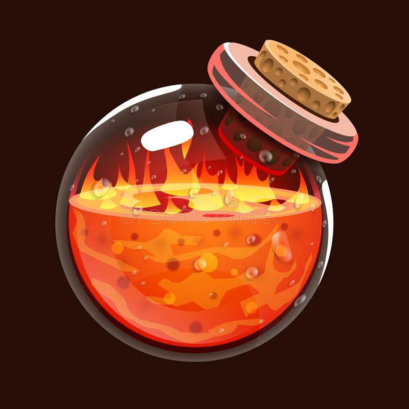 Bottle of fire. Game icon of magic elixir. Interface for rpg or match3 game. Fire, energy, lava, flame vector illustration