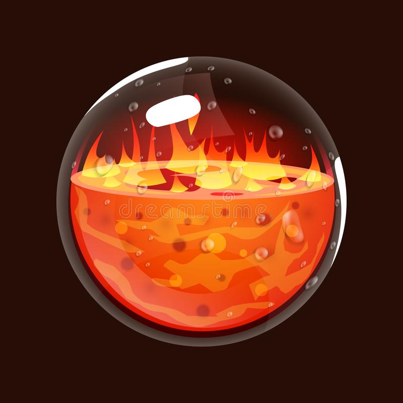 Bottle of fire. Game icon of magic orb. Interface for rpg or match3 game. Big variant. Fire, energy, lava, flame. Vector illustration vector illustration