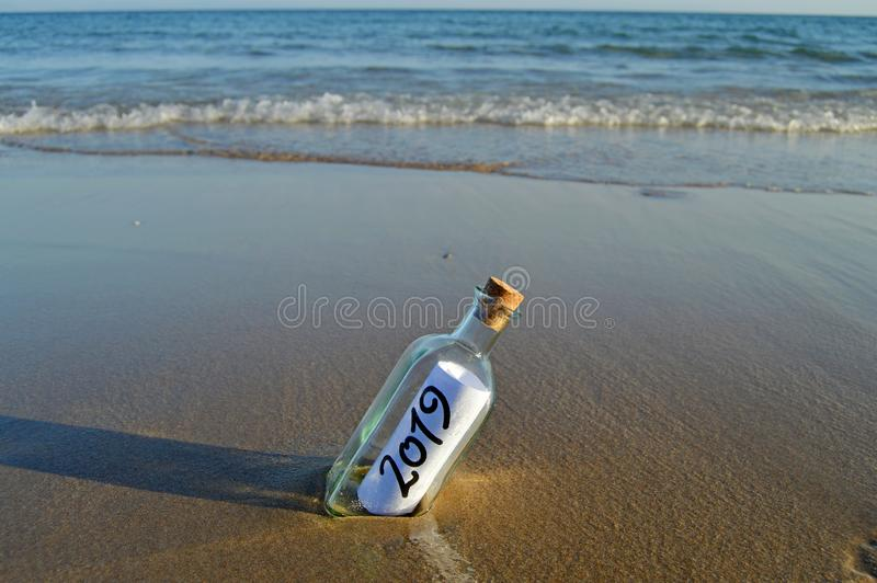 Happy New Year 2019, message in a bottle stock photo