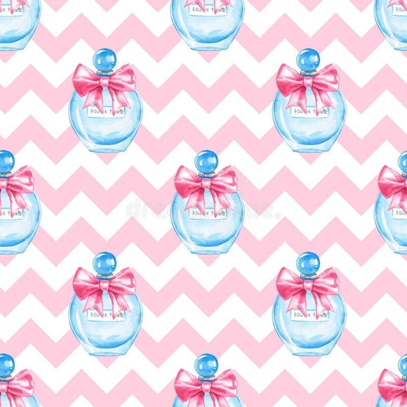 Perfume, watercolor seamless pattern royalty free illustration