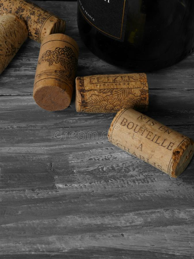 Bottle of French wine and corks close up. Bottle of French wine and corks  cork  stopper cork indoors no people still life close-up large group of objects menu royalty free stock photography