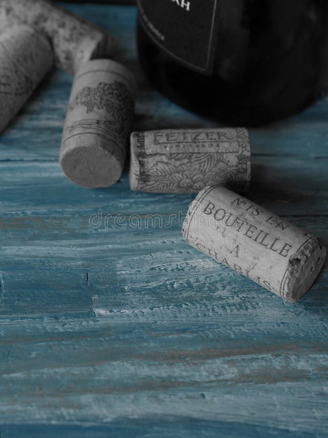Bottle of French wine and corks close up. Bottle of French wine and corks  cork  stopper cork indoors no people still life close-up large group of objects menu royalty free stock photo