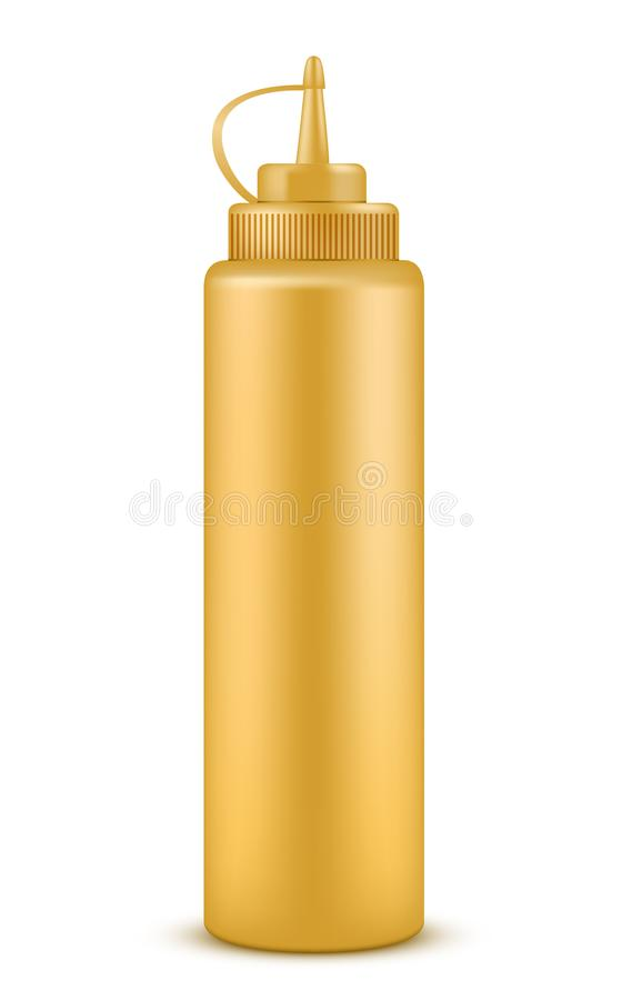 Bottle full of mustard isolated illustration royalty free illustration