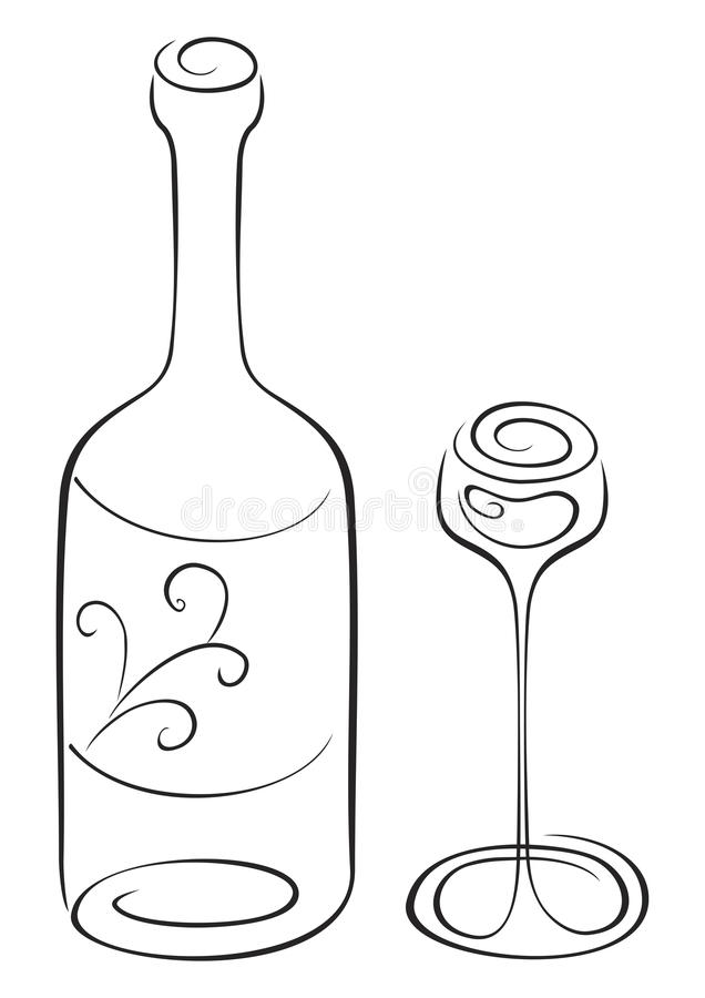 Download Bottle and glass stock vector. Image of wine, alcohol - 19157315