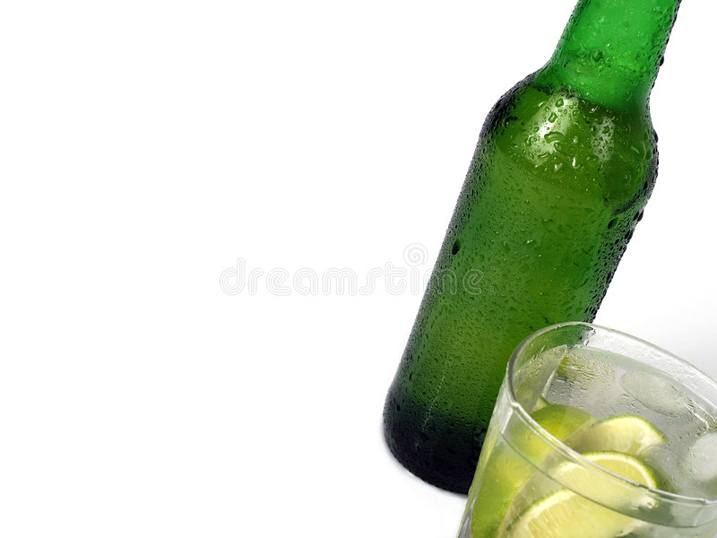 Bottle and glass stock images