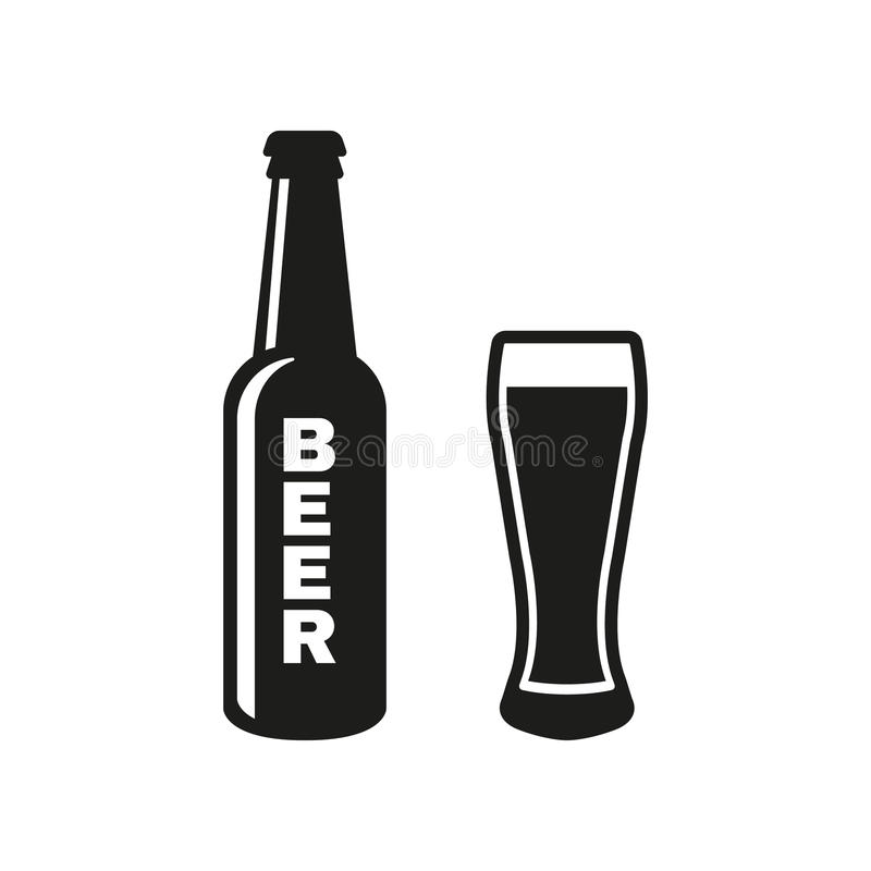 Bottle and glass of beer icon. Beer and pub, bar symbol. UI. Web. Logo. Sign. Flat design. App.Stock royalty free illustration
