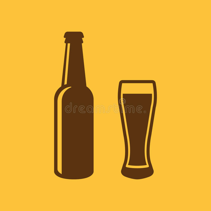 Bottle and glass of beer icon. Beer and pub, bar symbol. UI. Web. Logo. Sign. Flat design. App.Stock stock illustration