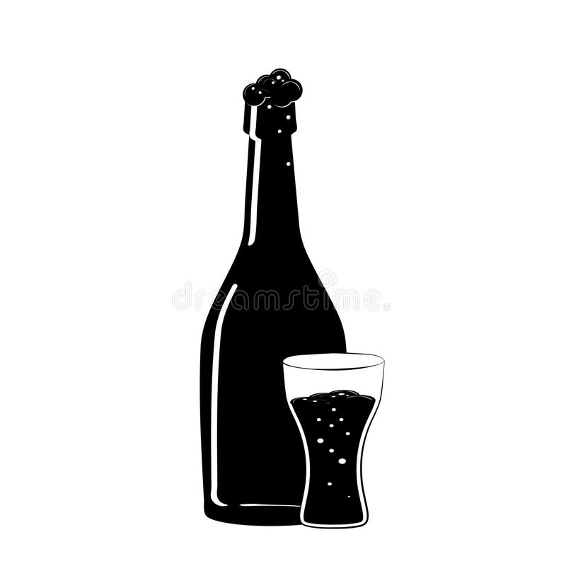 Bottle and glass of beer icon. Flat black silhouette of a Beer bottle. Iconography. Vector stock illustration