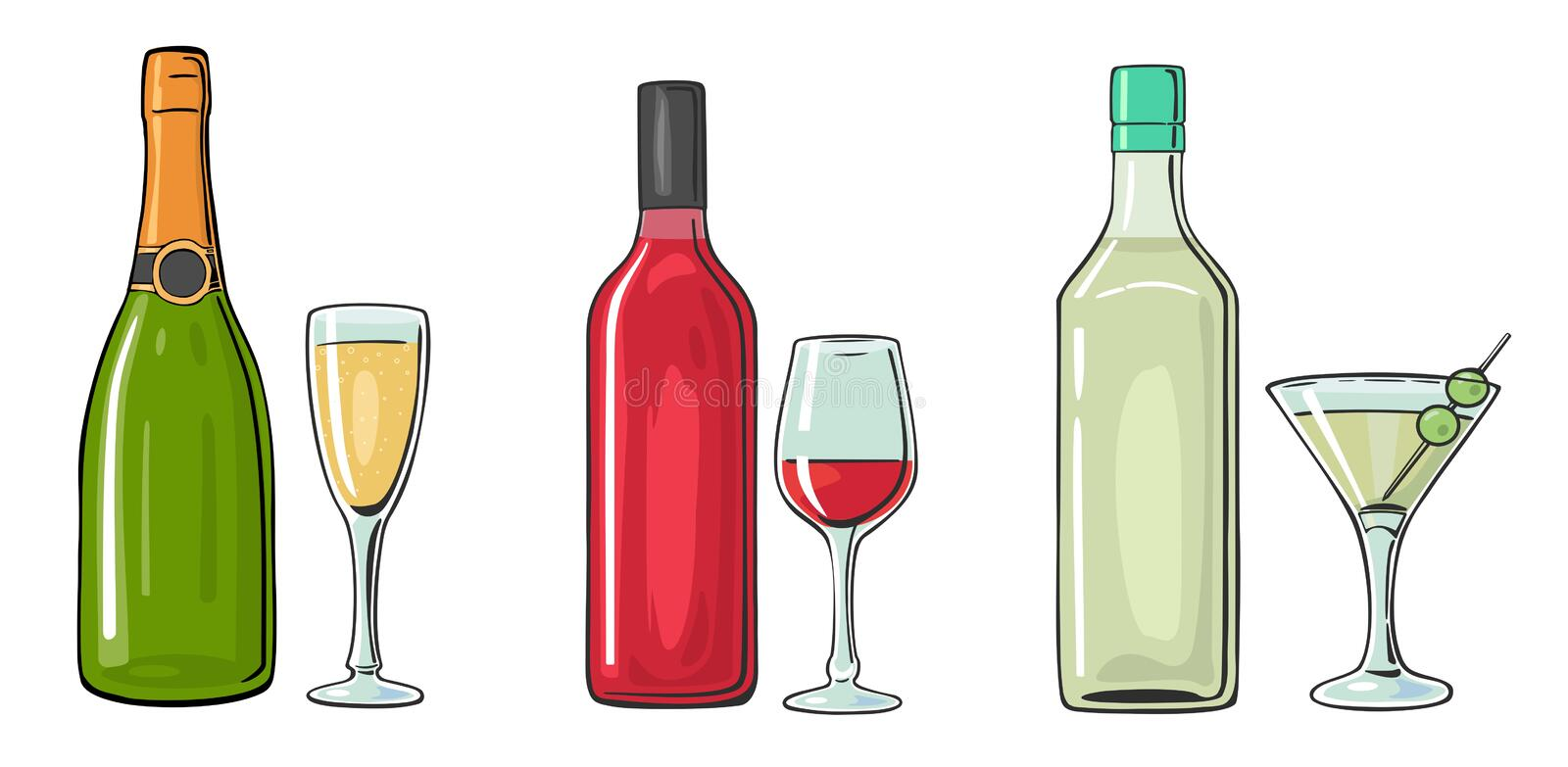 Bottle and glass cocktail, liquor, wine, champagne. Vector color flat illustration for label, poster, invitation to party. Isolated on white background vector illustration