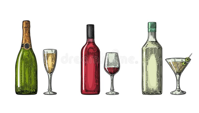 Bottle and glass cocktail, liquor, wine, champagne. Vintage color vector engraving illustration for label, poster, invitation to party. on white background royalty free illustration