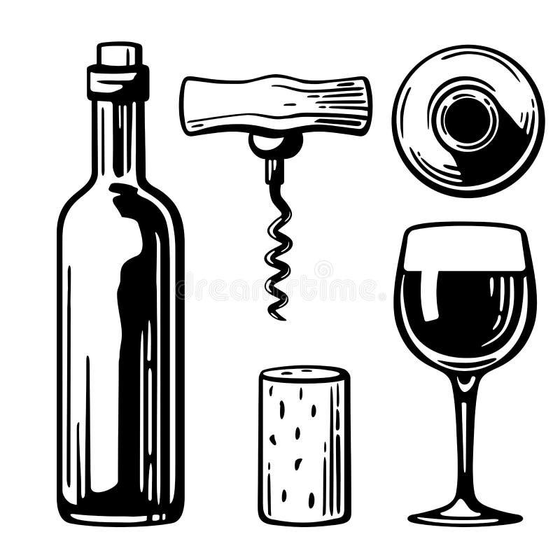 Bottle, glass, corkscrew, cork. Side and top view. Black and white vintage illustration for label, poster of wine, web, set vector illustration