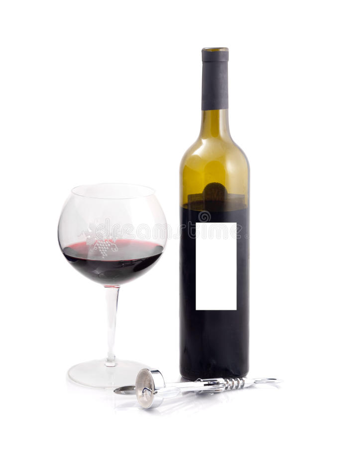 Download BOTTLE AND GLASS OF RED WINE Royalty Free Stock Photos - Image: 12006868