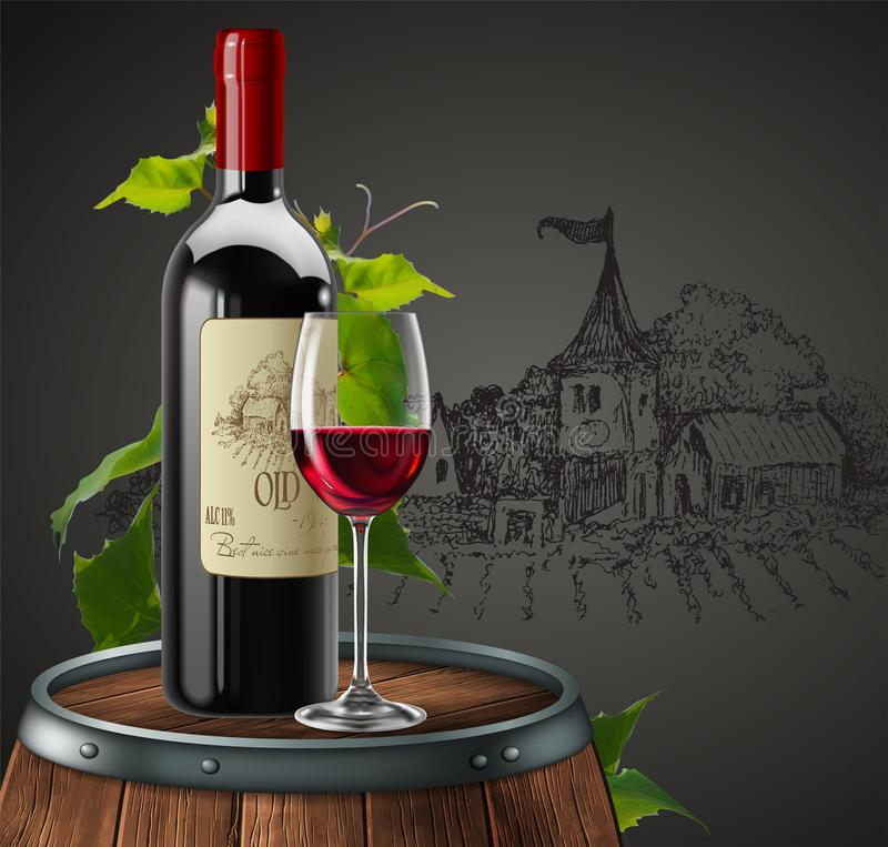 Bottle, glass of red wine and branch of grapes  on a wooden barrel. 3D vector. High detailed realistic illustration. Bottle, glass of red wine and branch of royalty free illustration