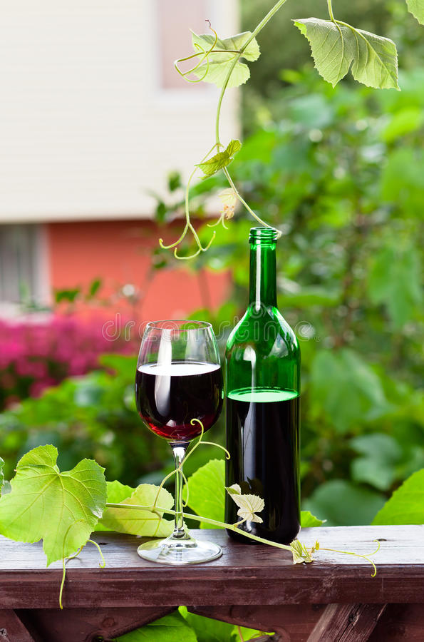 Download Bottle And Glass With Red Wine Stock Photo - Image of tasty, leaf: 39247100