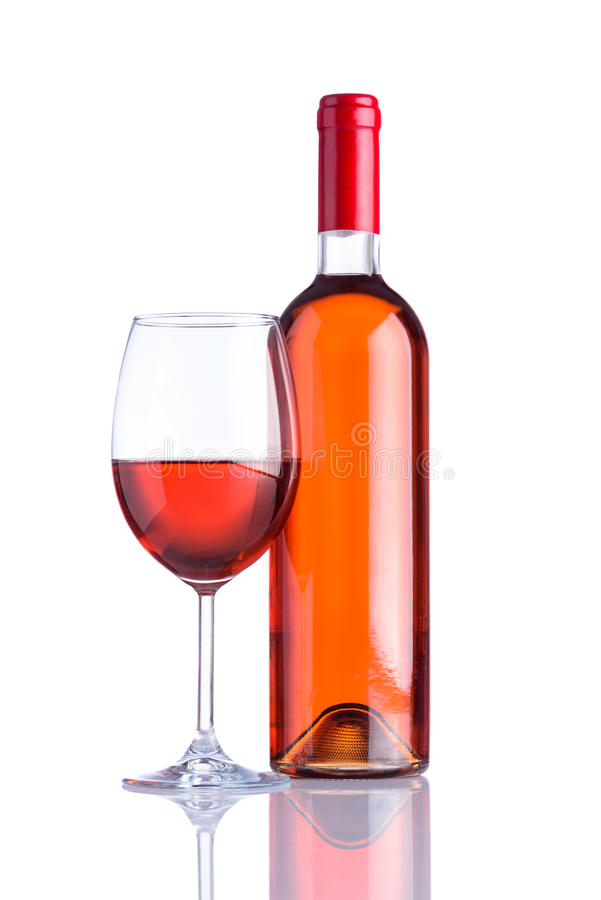 Bottle and Glass Rose Wine on White Background stock image