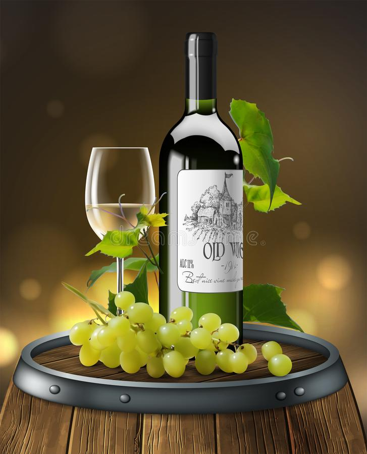 Bottle, glass of white wine and bunch of grapes  on a wooden barrel. 3D vector. High detailed realistic illustration. Bottle, transparent glass of white wine stock illustration