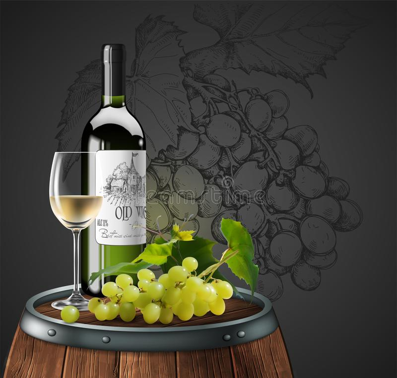 Bottle, glass of white wine and bunch of grapes  on a wooden barrel. 3D vector. High detailed realistic illustration. Bottle and glass of white wine on a wooden stock illustration