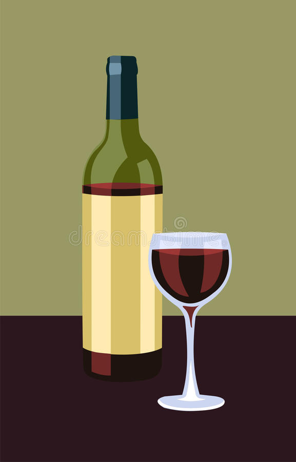 Bottle and glass of wine vector illustration