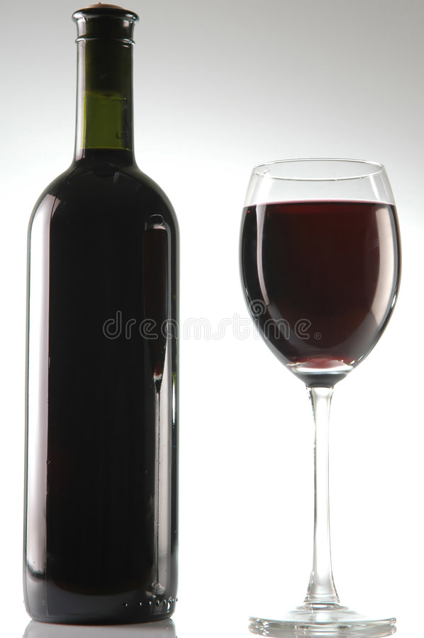 Bottle and glass of wine stock photos
