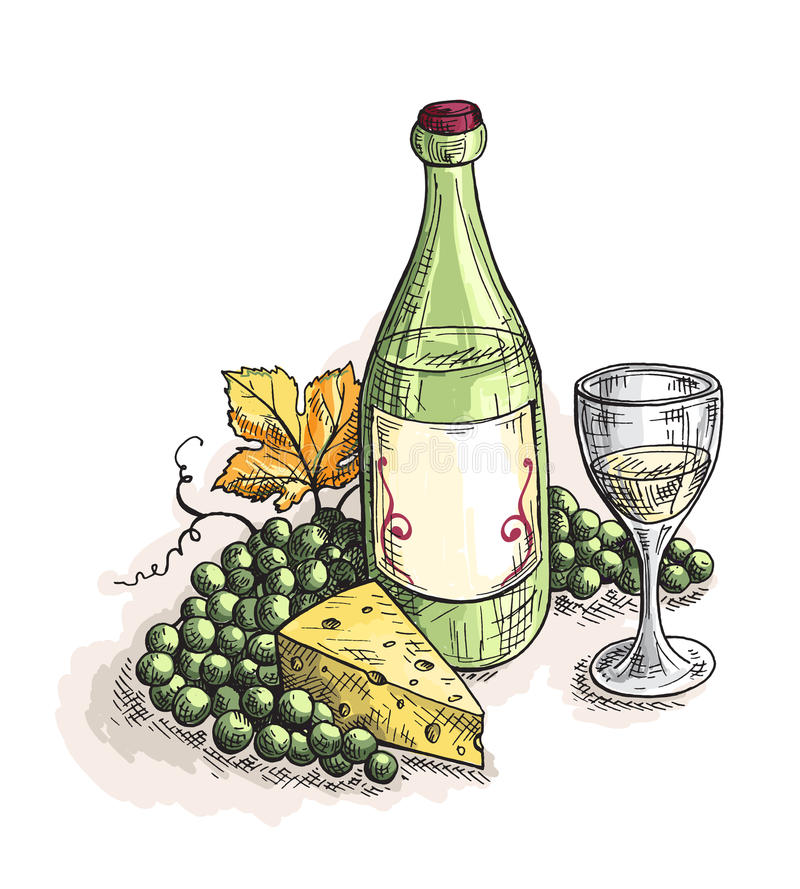 Bottle and glass of wine, grapes cheese isolated on white stock illustration