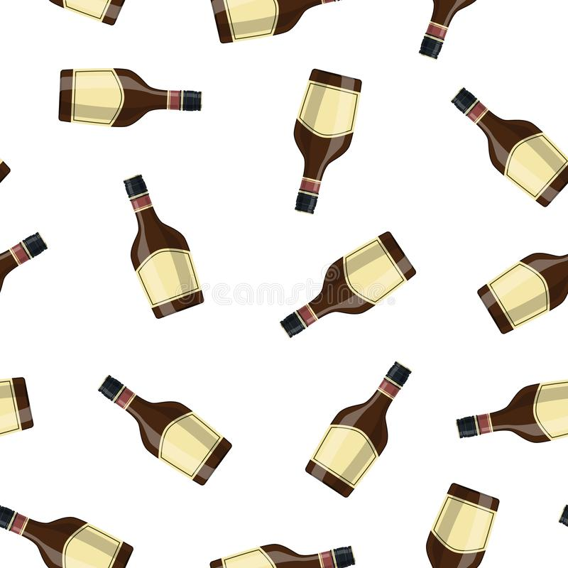 Bottle of grass liquor. Grass liquor alcohol drink. Seamless Repeat Pattern Background illustration in flat style stock illustration