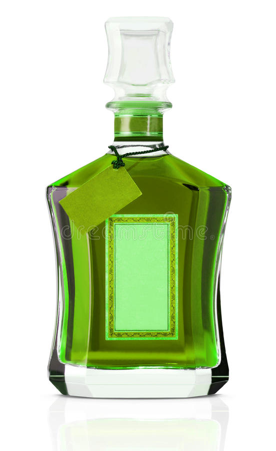Bottle of green alcohol. Side view of bottle of green alcohol with stopper and blank label, white background stock image