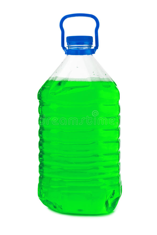 Bottle with green liquid. Isolated on white background royalty free stock images