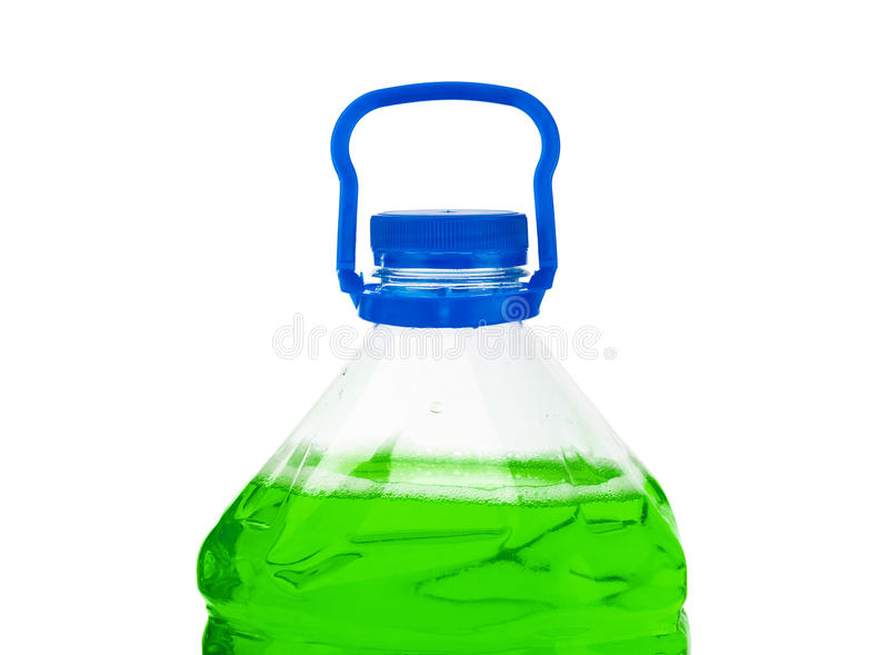 Bottle with green liquid. Isolated on white background royalty free stock image