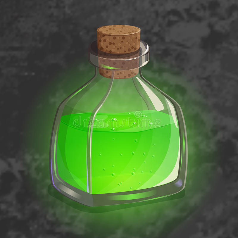 Bottle with green potion. Game icon of magic elixir. Bright design for app user interface. Shrinking, poison, augury. Bottle with green potion. Game icon of stock illustration