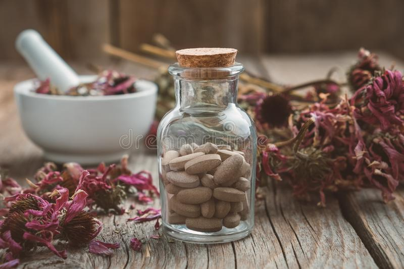 Bottle of herbal pills, mortar of healthy echinacea herbs and dry coneflower bunch on table. stock photos