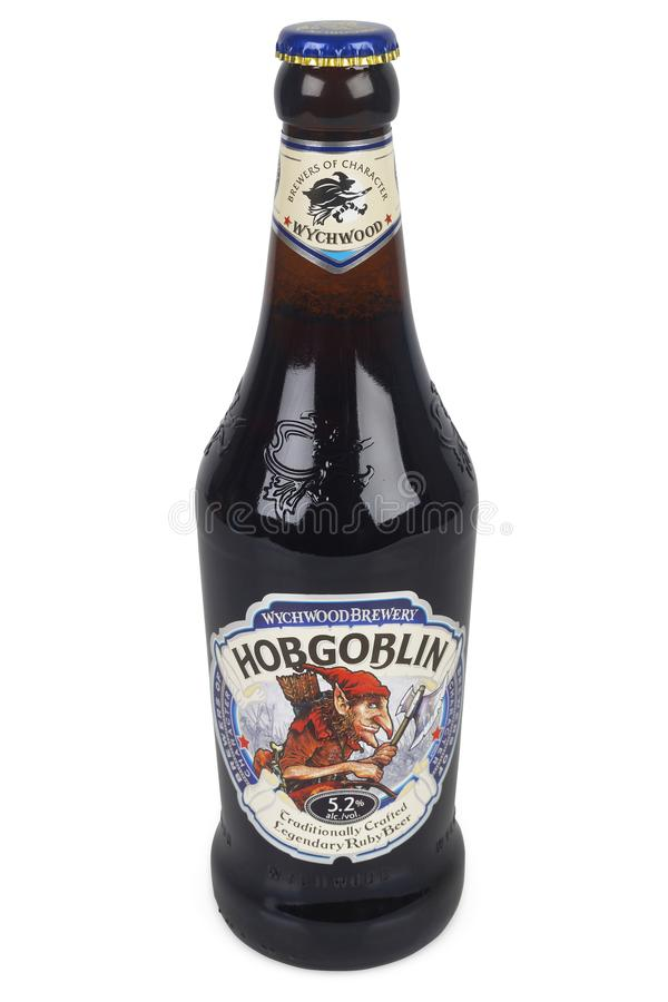 Bottle of Hobgoblin beer. PULA, CROATIA - DECEMBER 9, 2017: Bottle of Ruby Beer Wychwood Hobgoblin 500ml. Hobgoblin is a Extra Special style beer brewed by royalty free stock photography