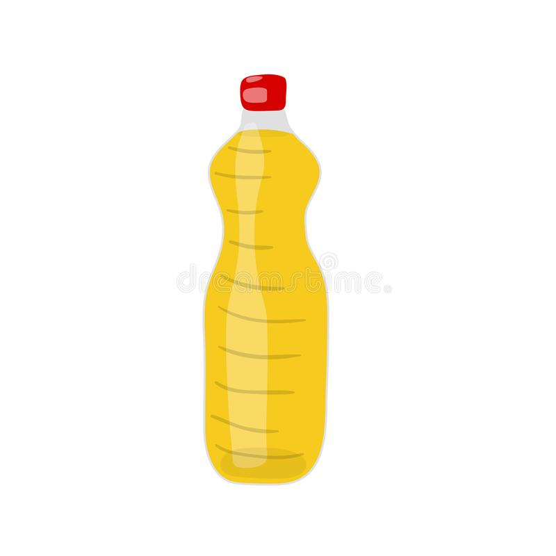 A Bottle of hydrogenated vegetable, canola or soy oil vector icon. Unhealthy eating cartoon illustration isolated on white. Background royalty free illustration