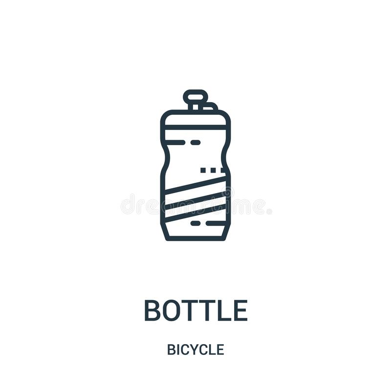 bottle icon vector from bicycle collection. Thin line bottle outline icon vector illustration. Linear symbol for use on web and royalty free illustration