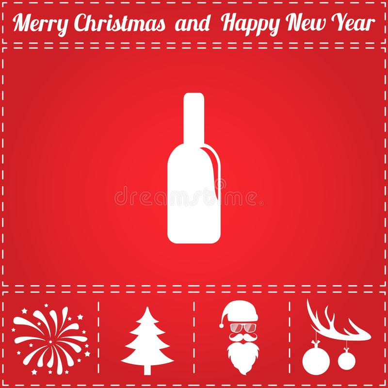 Bottle Icon Vector. And bonus symbol for New Year - Santa Claus, Christmas Tree, Firework, Balls on deer antlers royalty free illustration
