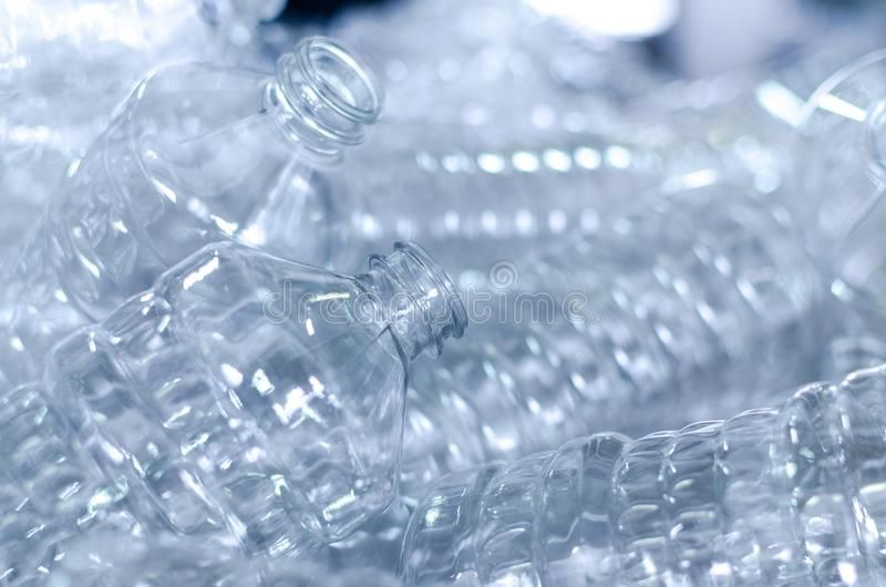 Bottle. Industrial production of plastic pet bottles. Factory line for manufacturing polyethylene bottles. Transparent food packag. Ing royalty free stock photography