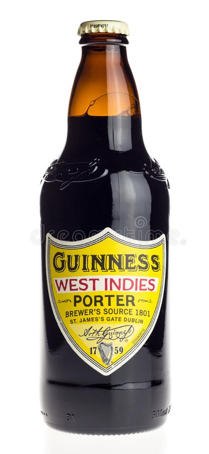 Bottle of Irish Guinness West Indies Porter beer isolated on white royalty free stock photography