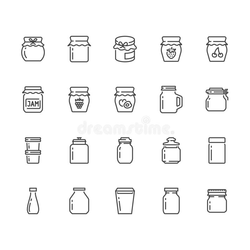 Bottle of jam flat line icons. Glass packaging for fruit confiture, raspberry strawberry jelly container vector. Illustrations. Thin signs for sweet food store vector illustration