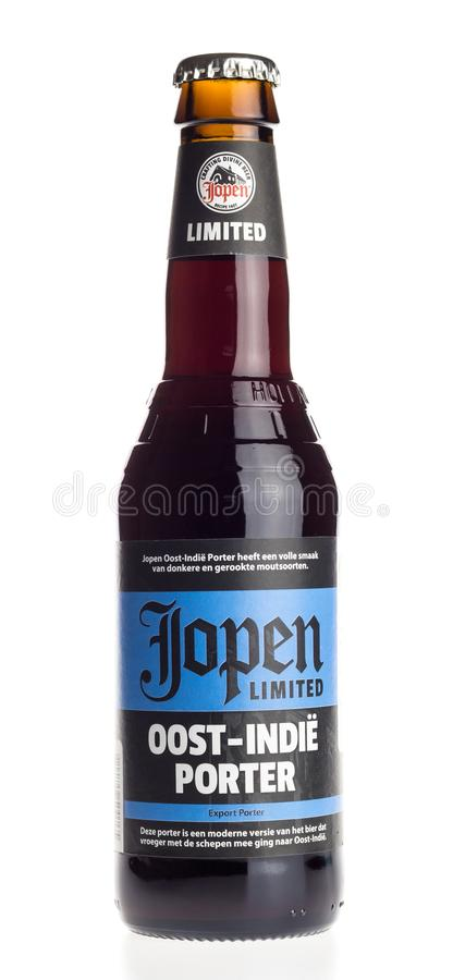 Bottle of Jopen Oost-Indie Porter beer on white. Bottle of Jopen Oost-Indie Porter beer isolated on a white background royalty free stock photos