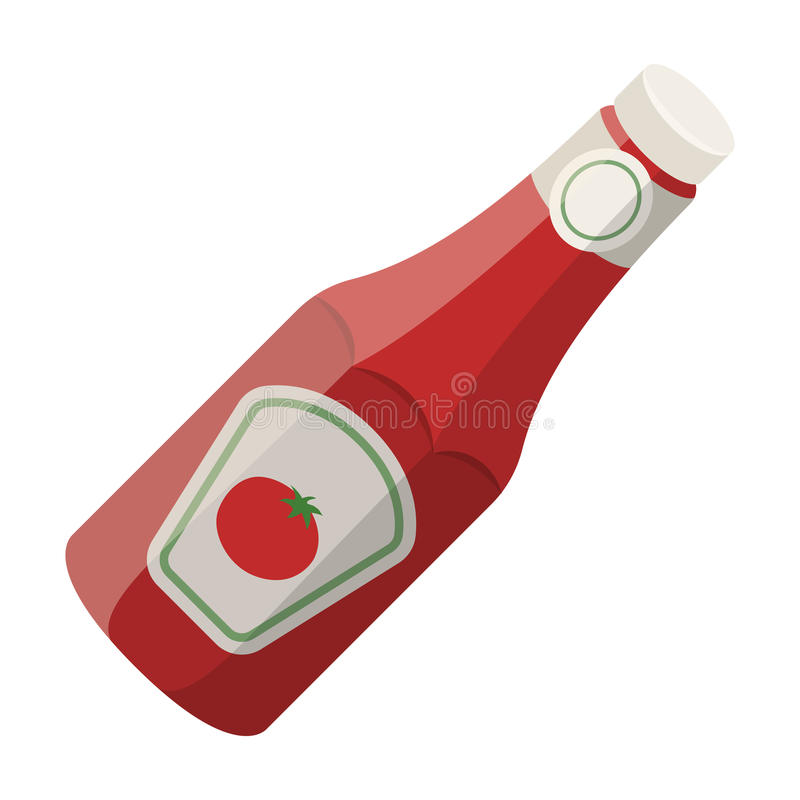 A bottle of ketchup.BBQ single icon in cartoon style rater,bitmap symbol stock illustration web. A bottle of ketchup.BBQ single icon in cartoon style rater royalty free illustration