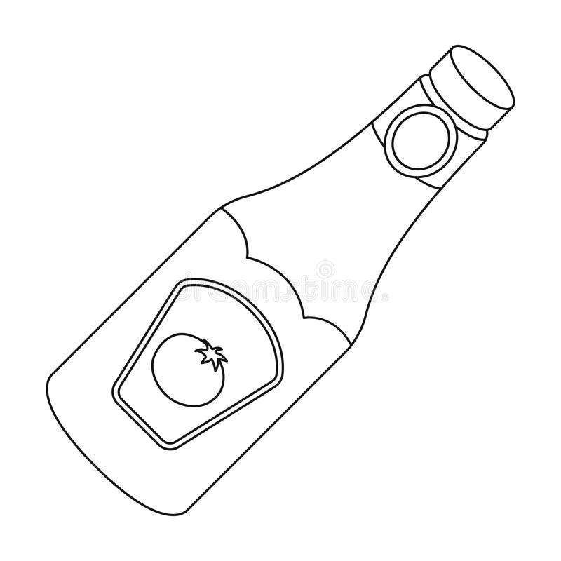 ketchup bottle coloring page - a bottle of ketchup bbq single icon in outline style