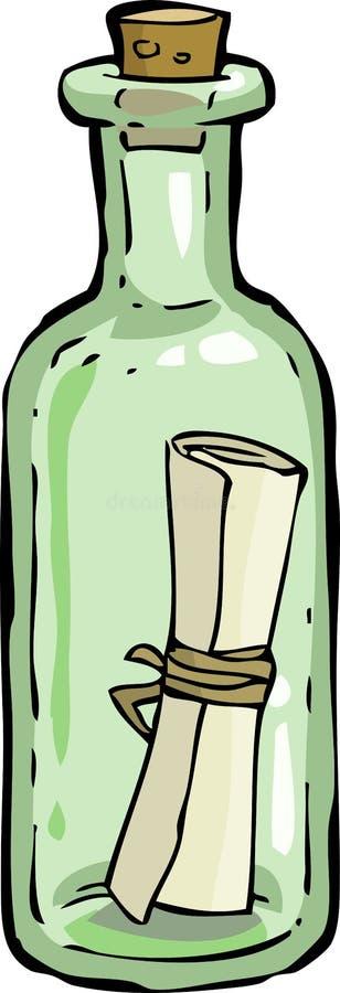 Bottle. A bottle with a letter vector stock illustration