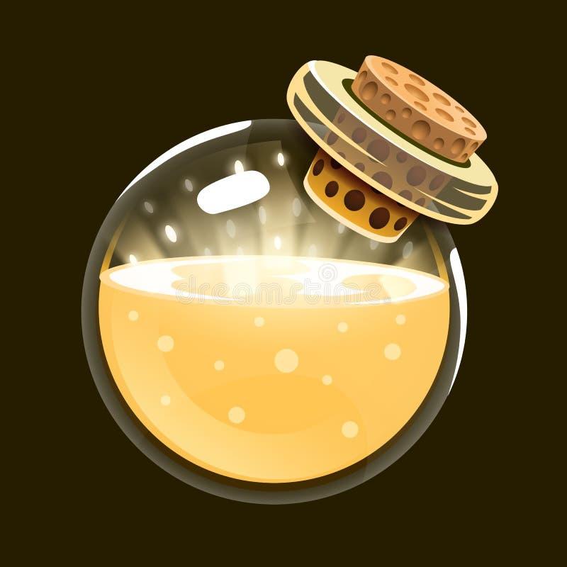 Bottle of light. Game icon of magic elixir. Interface for rpg or match3 game. Sun, light, energy. Big variant. Vector illustration stock illustration