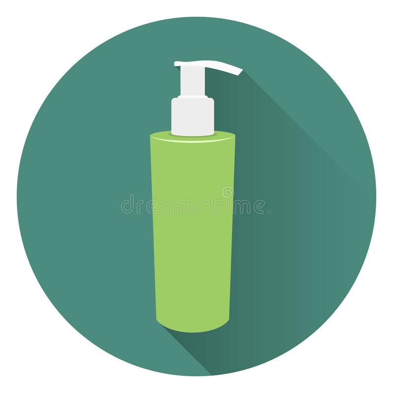 Bottle of liquid soap or body cream. Foam for a bath. On a circular green background with a shadow. Flat style, icon. 10 eps royalty free illustration