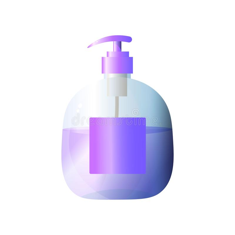 Purple large volume plastic bottle for liquid soap for hands, face and body isolated on white background. royalty free illustration