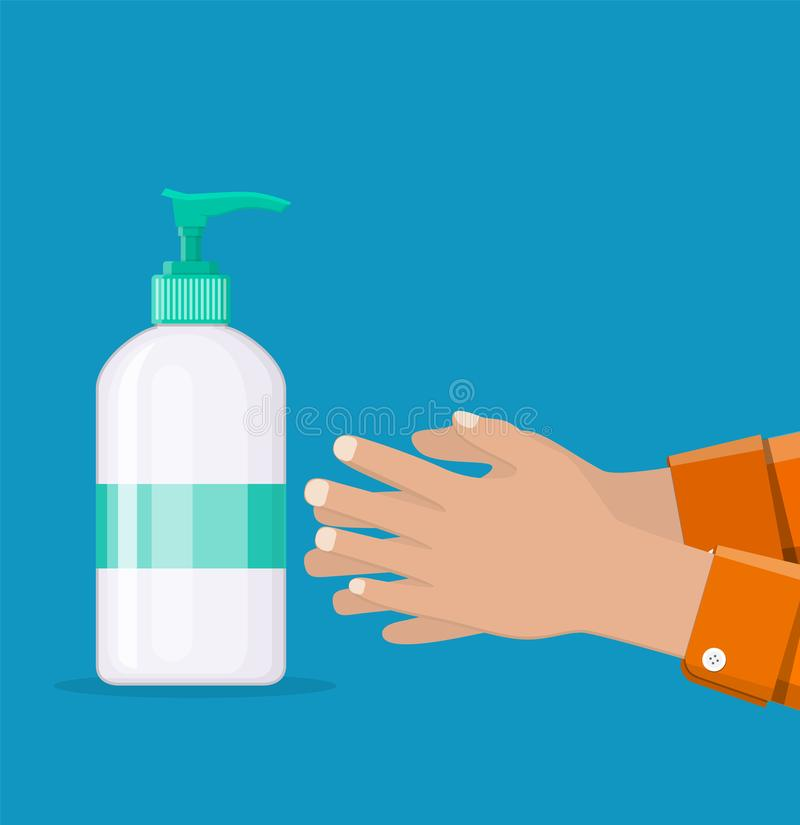 Bottle with liquid soap and hands. Man washes hands, hygiene. Shower gel or shampoo. Plastic bottle with dispenser for cleaning products.vector illustration in vector illustration
