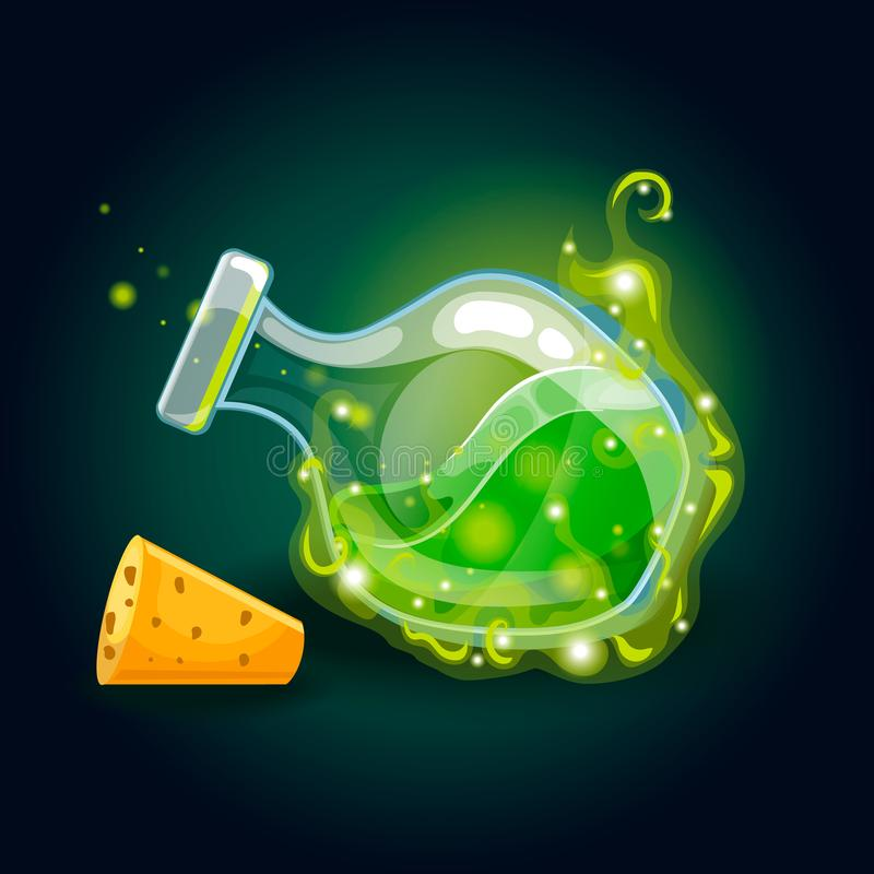Bottle with magic smog and elixir. Game design illustration stock illustration